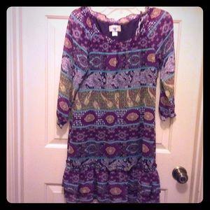 Belle du Jour M purple print lined peasant dress